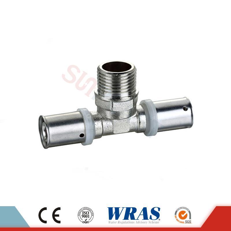 Brass Press Male Tee ສໍາລັບ PEX-AL-PEX Multilayer Pipe